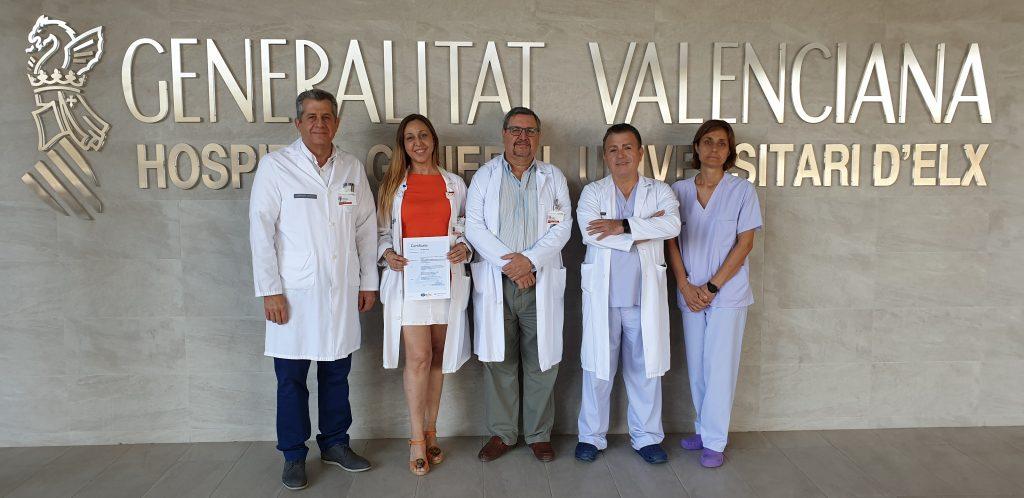 La Unidad de Cuidados Intensivos Quirúrgicos del Hospital de Elche consigue la primera certificación de calidad de la provincia de Alicante