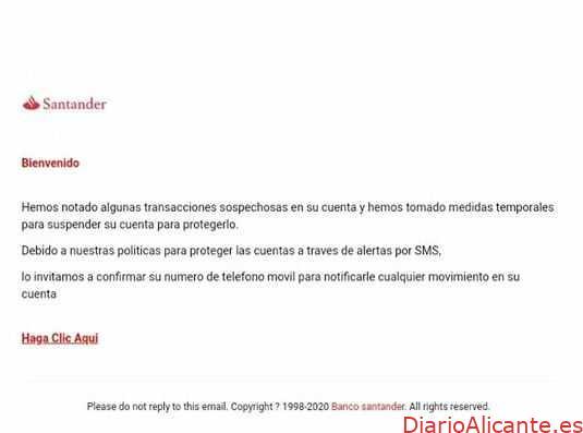 CUIDADO: nueva estafa haciéndose pasar por el Banco Santander