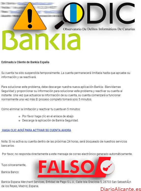 Phishing: correos electrónicos fraudulentos que suplantan a Bankia