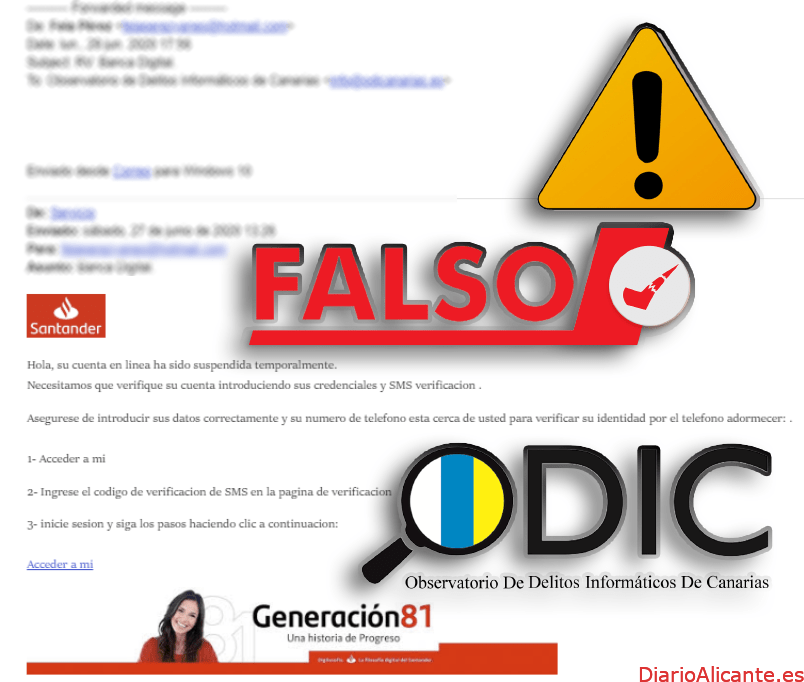 El ODIC alerta de falsos correos electrónicos que suplantan al Banco Santander