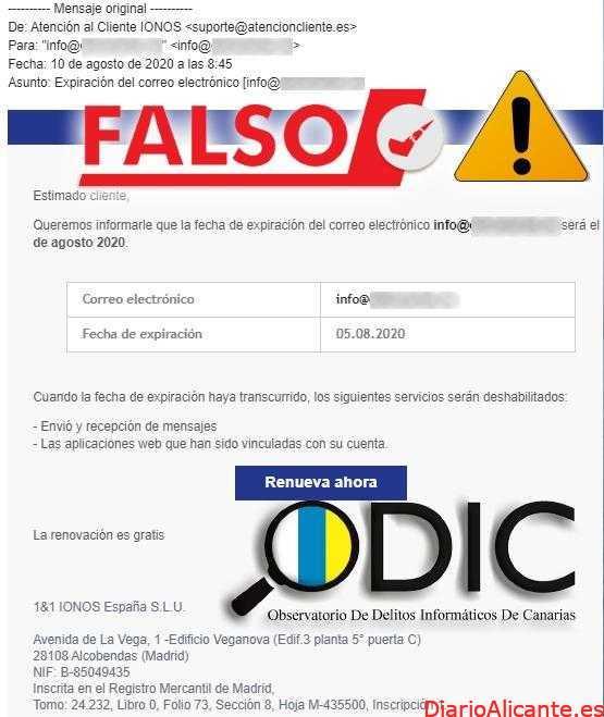 Campaña de correos fraudulentos suplantando a 1and1 IONOS