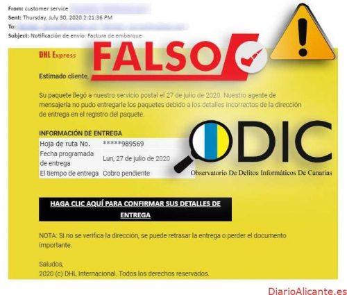 Detectada una campaña de phishing que suplanta la empresa de paquetería DHL