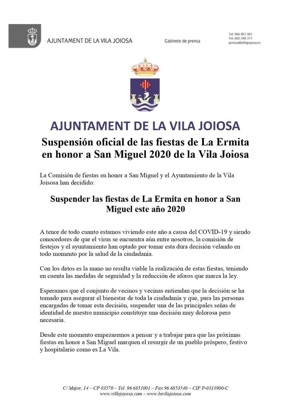Suspensión oficial de las fiestas de La Ermita en honor a San Miguel 2020 de la Vila Joiosa