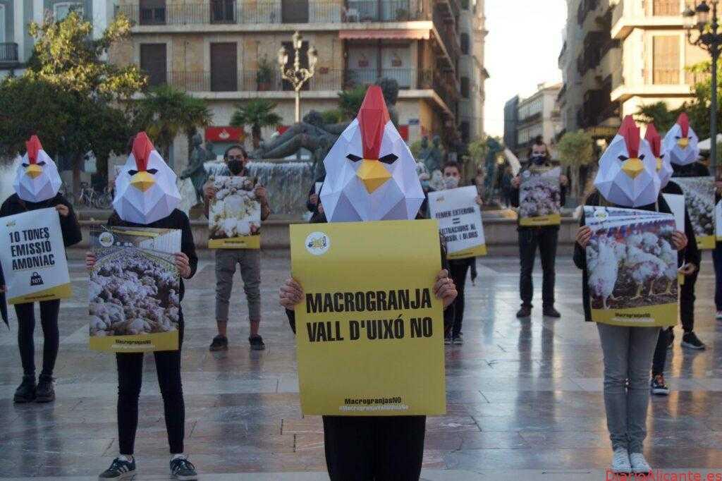 Ecologistas se concentran en Valencia contra la Macrogranja de la Vall d'Uixó.
