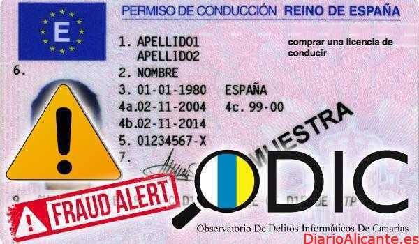 ODIC identifica varias webs dedicadas a la venta de carnet de conducir falsos