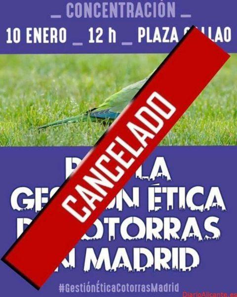SUSPENDIDA LA CONCENTRACIÓN POR LAS COTORRAS EN MADRID