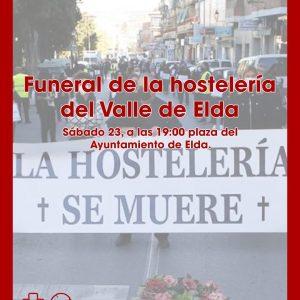 Funeral por la hostelería frente al Ayuntamiento de Elda este sábado 23