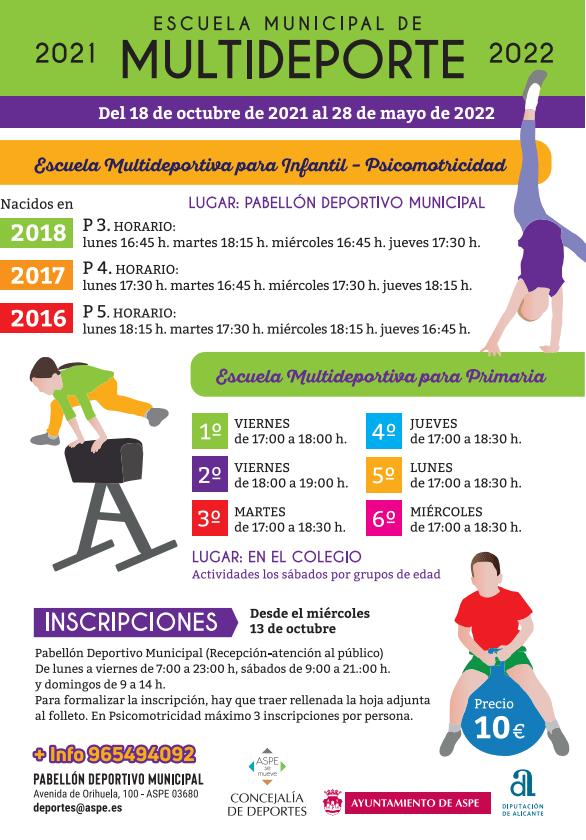13 Octubre Comienza el plazo de inscripciones escuelas deportivas