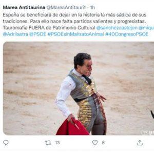 Miles de personas piden al PSOE un posicionamiento contra la tauromaquia